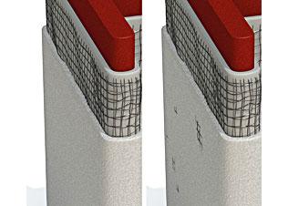 (左)嵌入涂层正确深度的网格 (右)嵌入涂层深度不足的网格