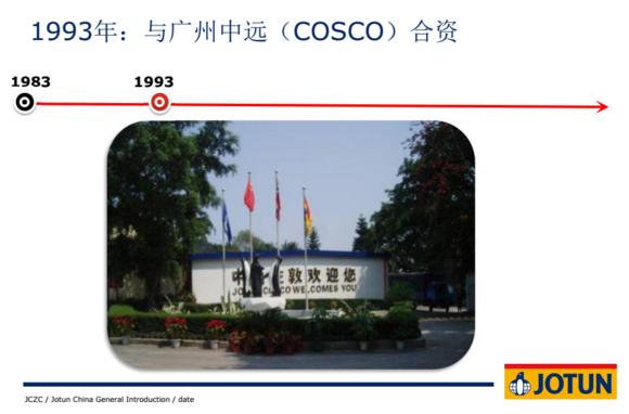 佐敦公司进入中国是和中国远洋合作成立了中远船舶涂料